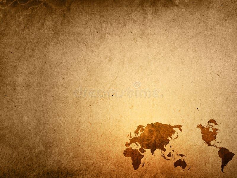 Altmodische Weltkarte lizenzfreie abbildung