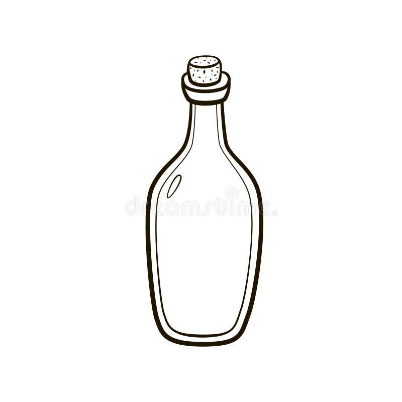 Altmodische Zeichnung der Weinleseverkorkten flasche Handauf weißem Hintergrund stock abbildung