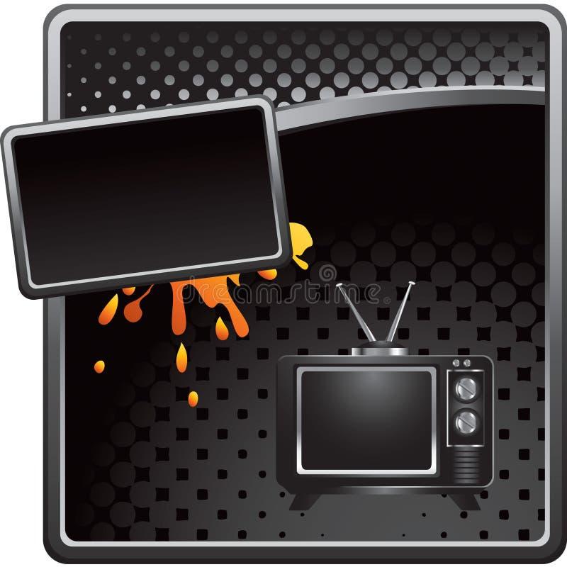Altmodisches Fernsehen der schwarzen grungy Halbtonanzeige lizenzfreie abbildung
