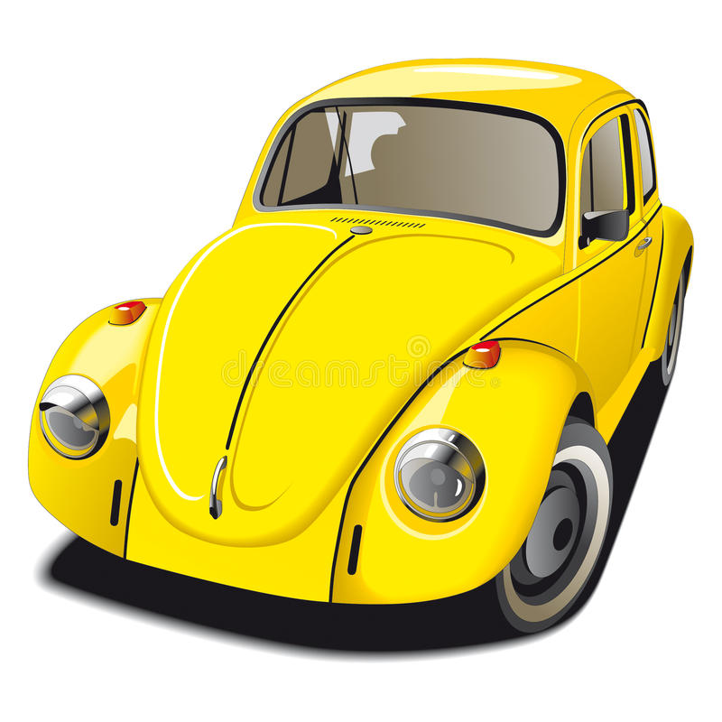 Altmodisches gelbes Auto stock abbildung