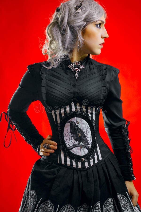 Altmodisches gotisches Mädchen stockbild