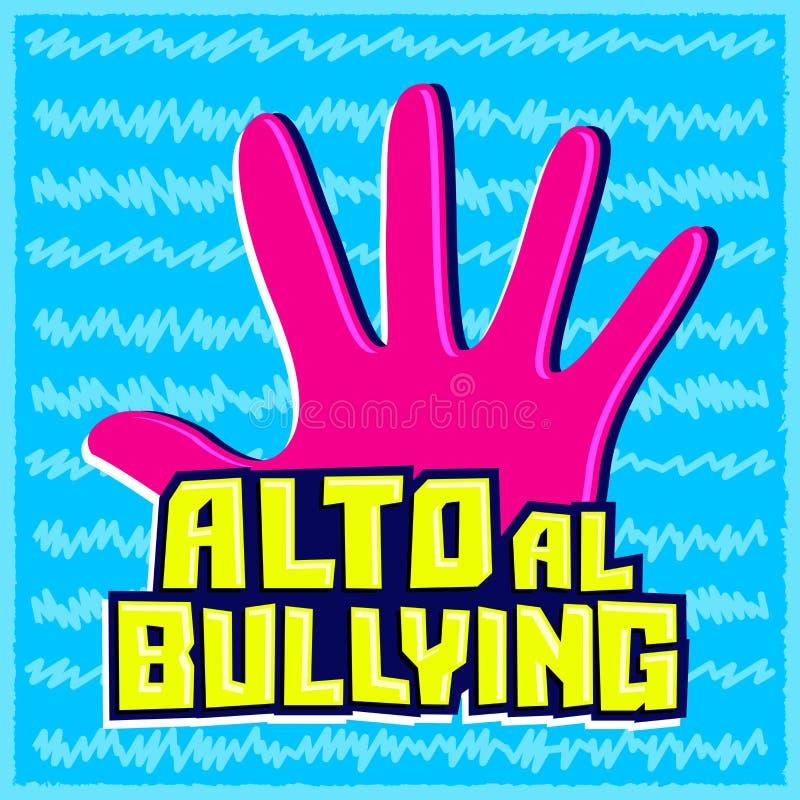 Alto al Bullying, fermata opprimente testo spagnolo royalty illustrazione gratis