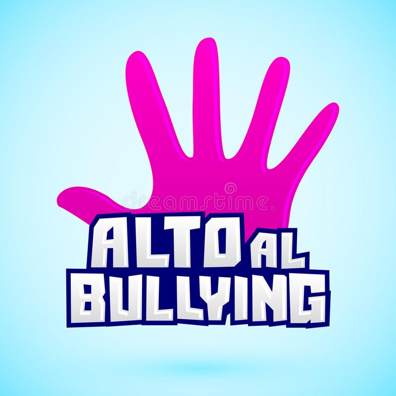 Alto al Bullying, fermata opprimente testo spagnolo illustrazione vettoriale