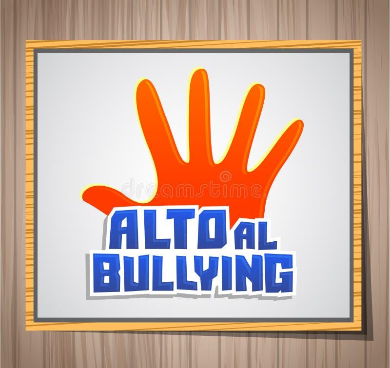 Alto al Bullying, fermata opprimente testo spagnolo, illustrazione dell'icona di vettore su una lavagna royalty illustrazione gratis