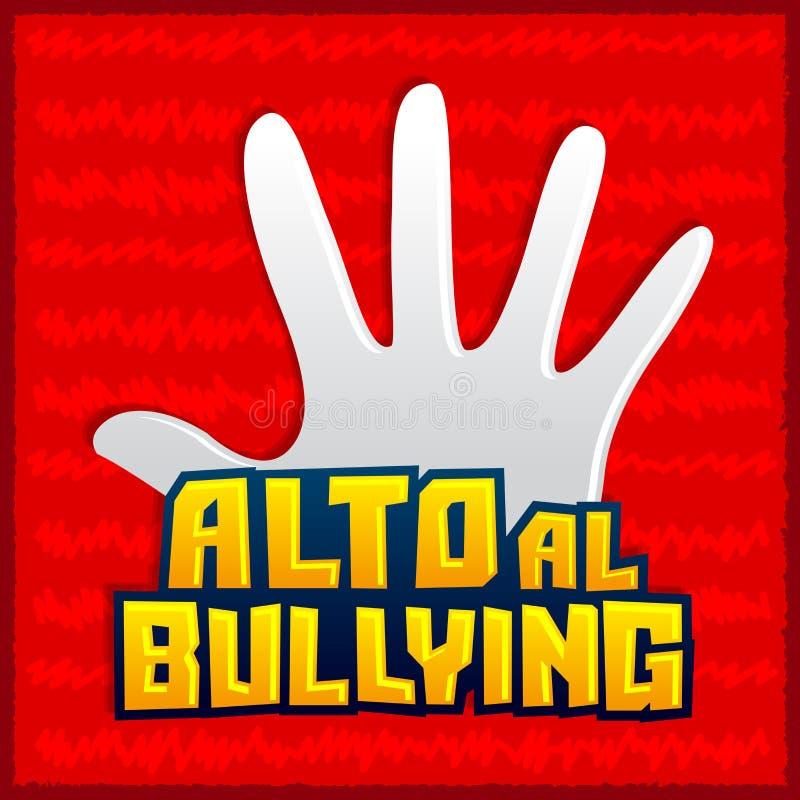 Alto al Bullying - pare de tiranizar o texto espanhol ilustração do vetor