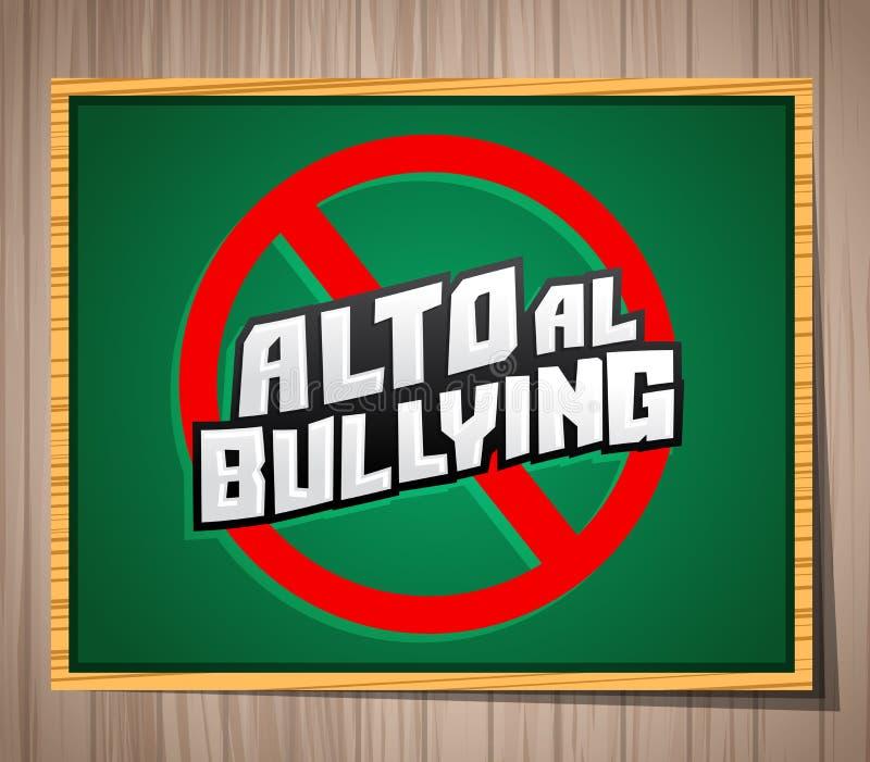 Alto al Bullying - pare de tiranizar o texto espanhol ilustração royalty free
