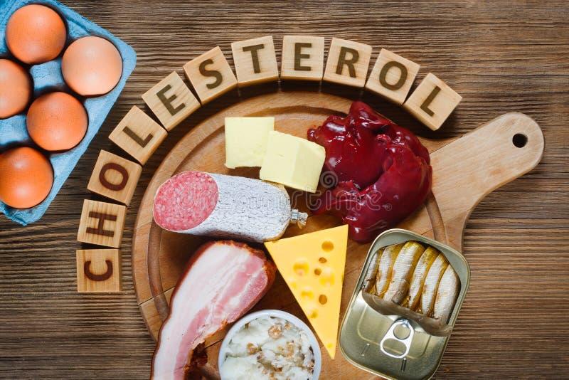Alto - alimentos do colesterol fotos de stock
