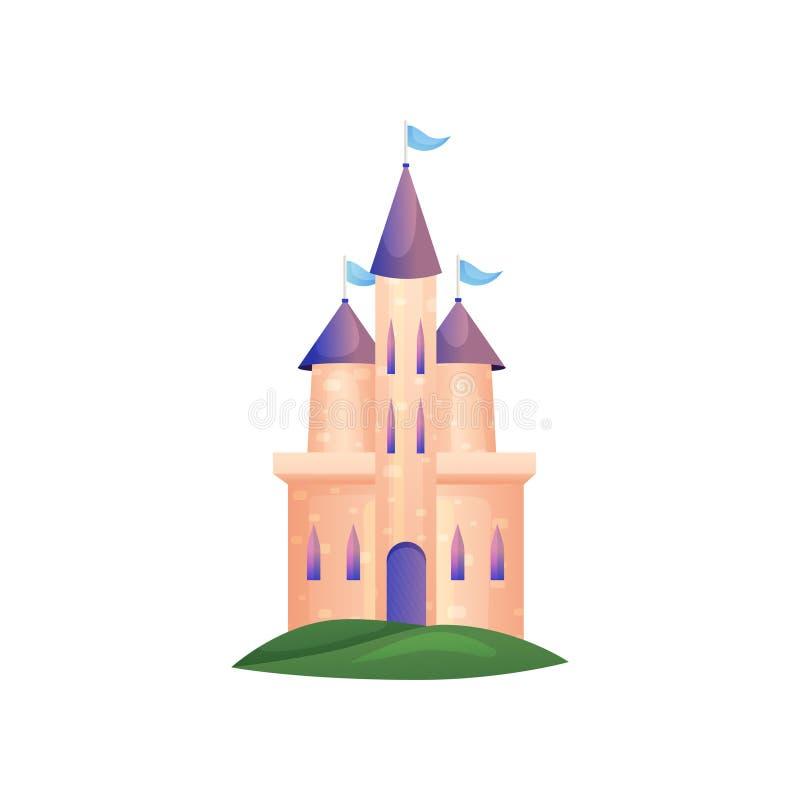 Alto castello di principessa con le finestre lunghe ed il tetto viola illustrazione vettoriale
