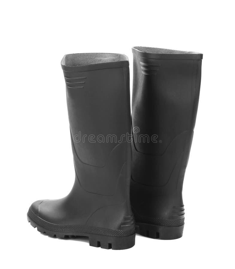 Alto colore nero degli stivali di gomma immagini stock
