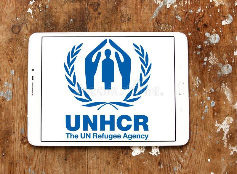 Alto comissário de United Nations para o logotipo do UNHCR dos refugiados imagem de stock royalty free
