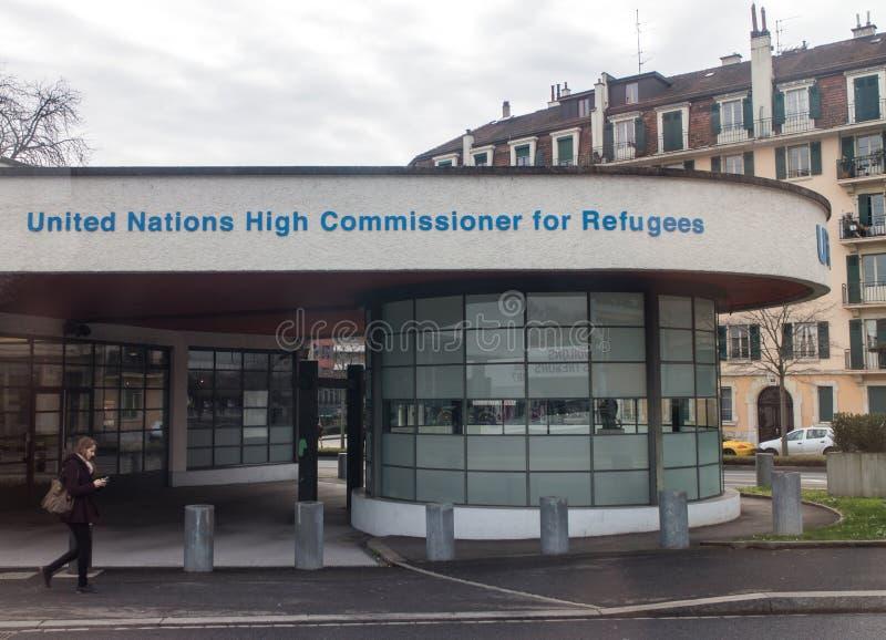 Alto comissário de United Nations para UNHCR Genebra dos refugiados imagens de stock