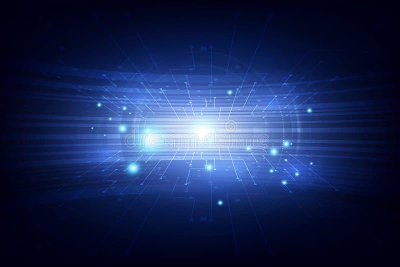 Alto concepto de la tecnología digital de la conexión azul futurista abstracta del vector Ilustración del vector del fondo ilustración del vector