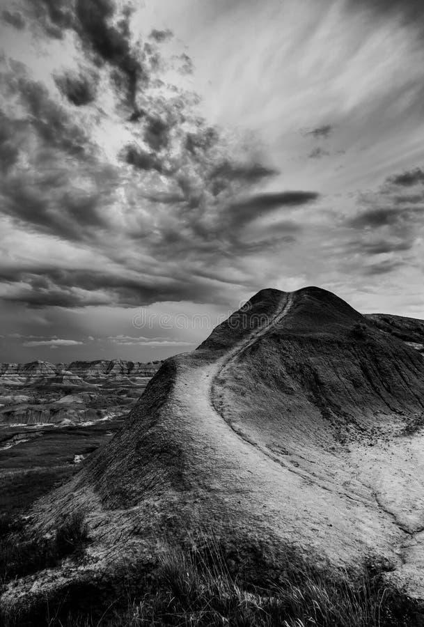 Alto contraste blanco y negro, Badlands parque nacional, Dakota del Sur foto de archivo
