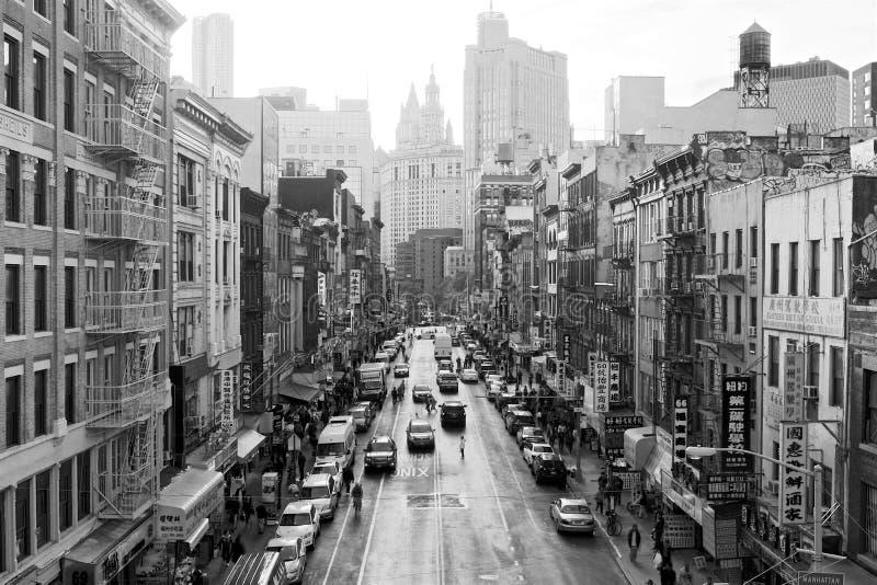Alto contraste del este de Broadway BW foto de archivo