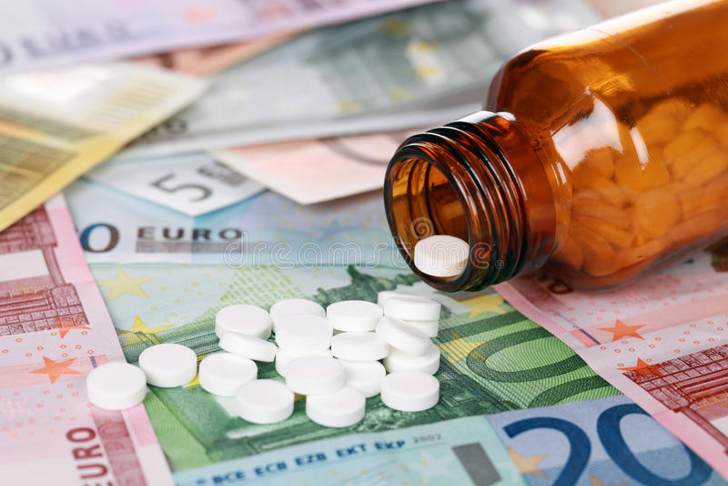 Alto costo di medicina immagini stock