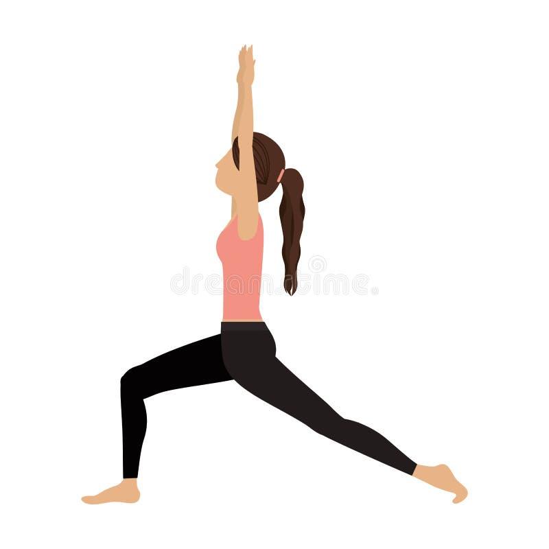 Alto creciente de la estocada de la yoga colorida stock de ilustración