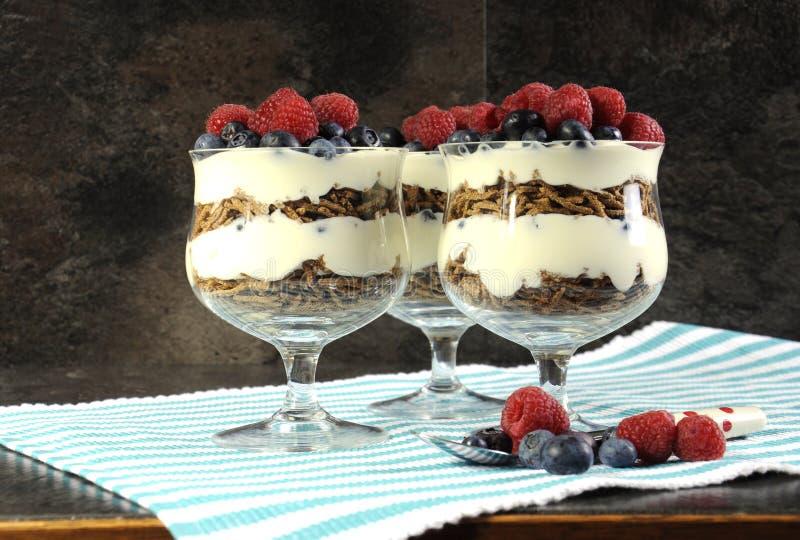 Alto desayuno dietético de la fibra de la dieta sana con el cereal del salvado, el yogur y los helados de las bayas imagen de archivo