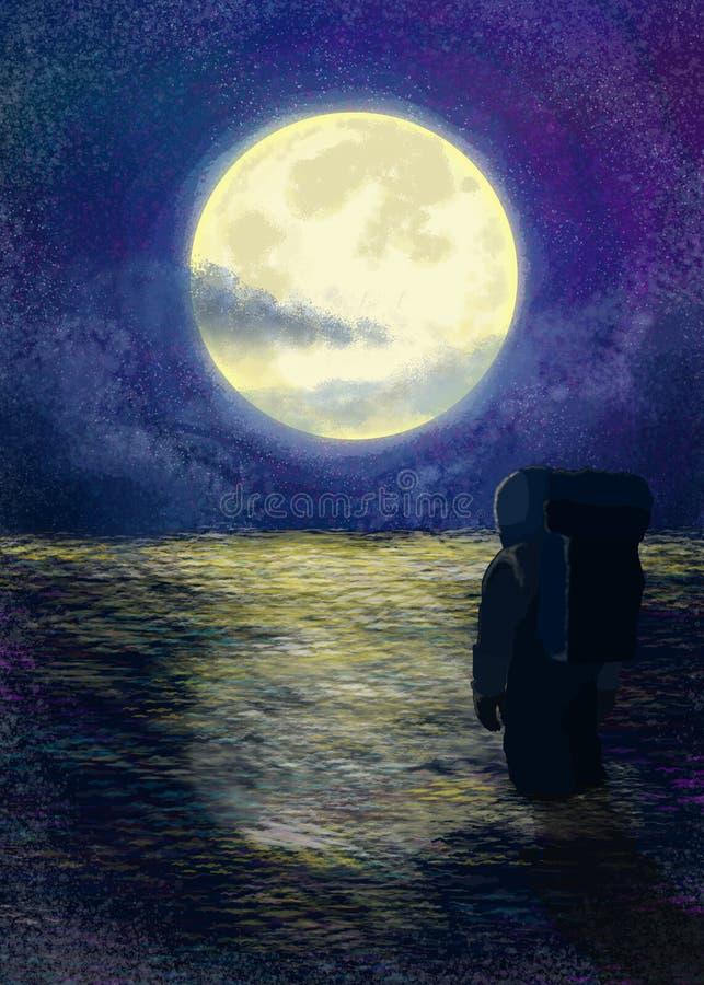 Alto ejemplo del arte del planeta del astronauta de la noche stock de ilustración