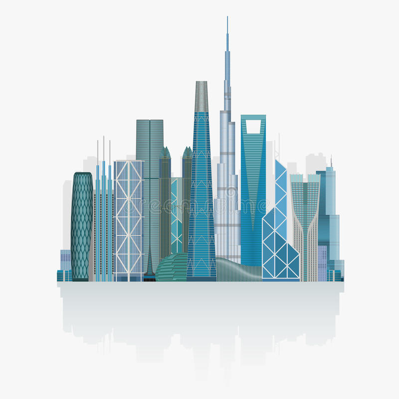 Alto ejemplo detallado del vector del horizonte moderno de la ciudad libre illustration