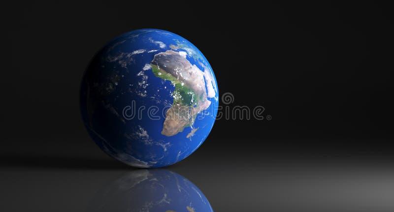 Alto globo detallado de la tierra en estudio oscuro con la superficie reflexiva stock de ilustración
