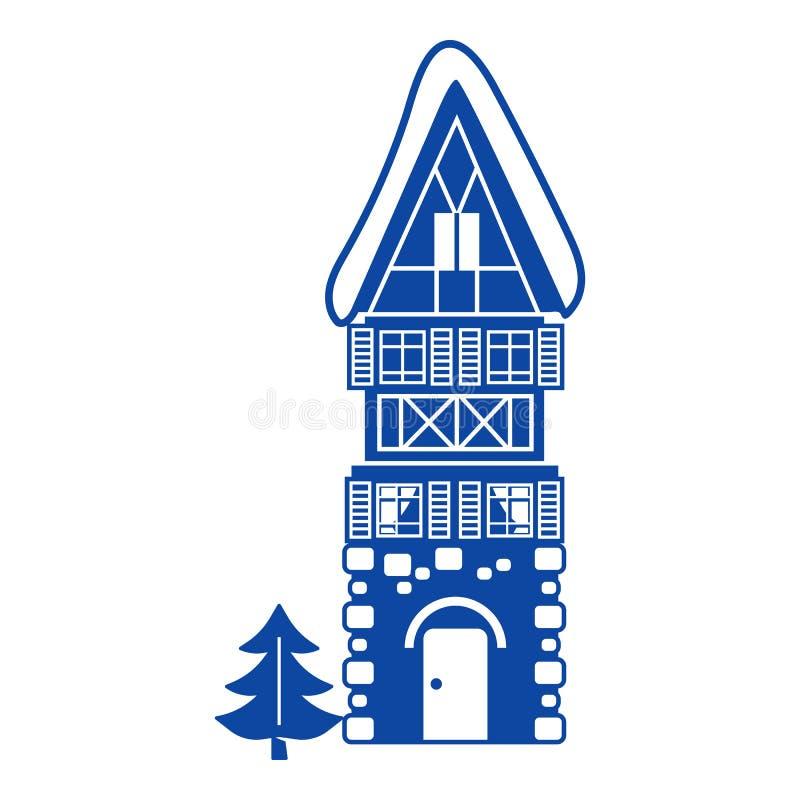 Alto icono de la casa de la piedra, estilo simple ilustración del vector