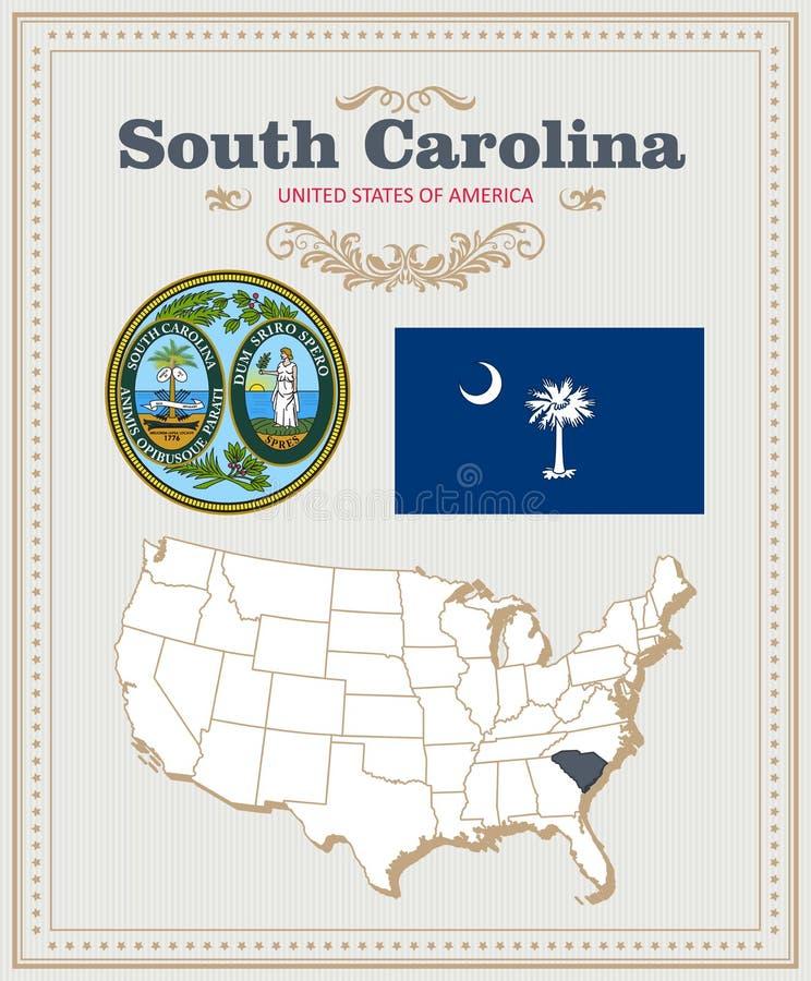 Alto insieme dettagliato di vettore con la bandiera, stemma Carolina del Sud Manifesto americano Cartolina d'auguri illustrazione di stock