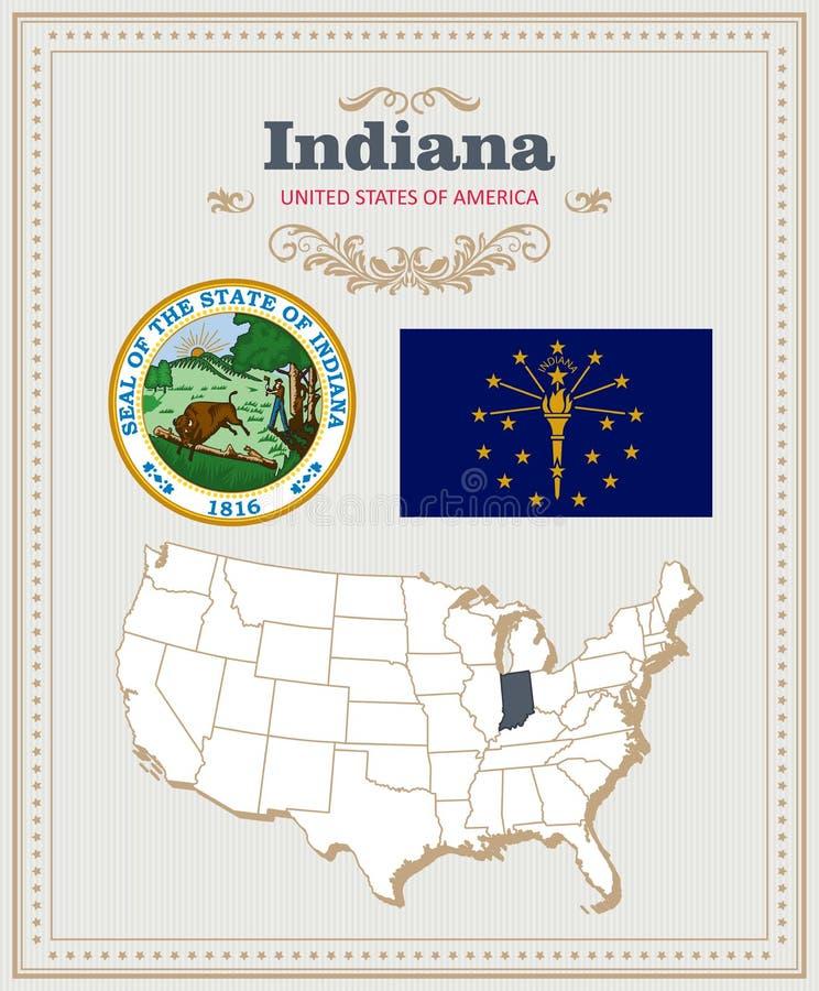 Alto insieme dettagliato di vettore con la bandiera, stemma, mappa dell'Indiana Manifesto americano Cartolina d'auguri royalty illustrazione gratis
