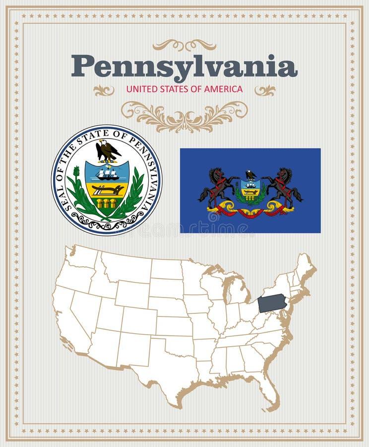 Alto insieme dettagliato di vettore con la bandiera, stemma, mappa della Pensilvania Manifesto americano Cartolina d'auguri illustrazione di stock
