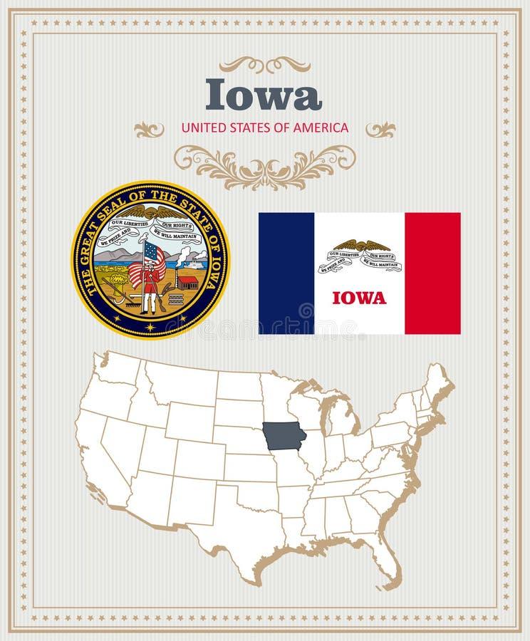 Alto insieme dettagliato di vettore con la bandiera, stemma, mappa dello Iowa Manifesto americano Cartolina d'auguri royalty illustrazione gratis