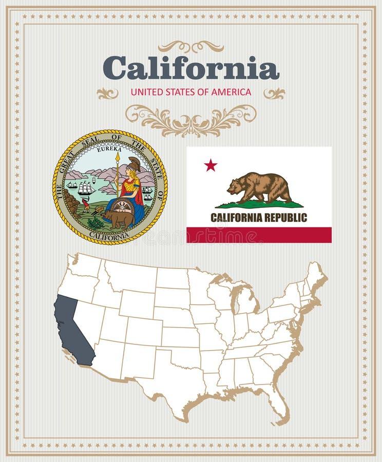 Alto insieme dettagliato di vettore con la bandiera, stemma, mappa di California Manifesto americano Cartolina d'auguri illustrazione vettoriale