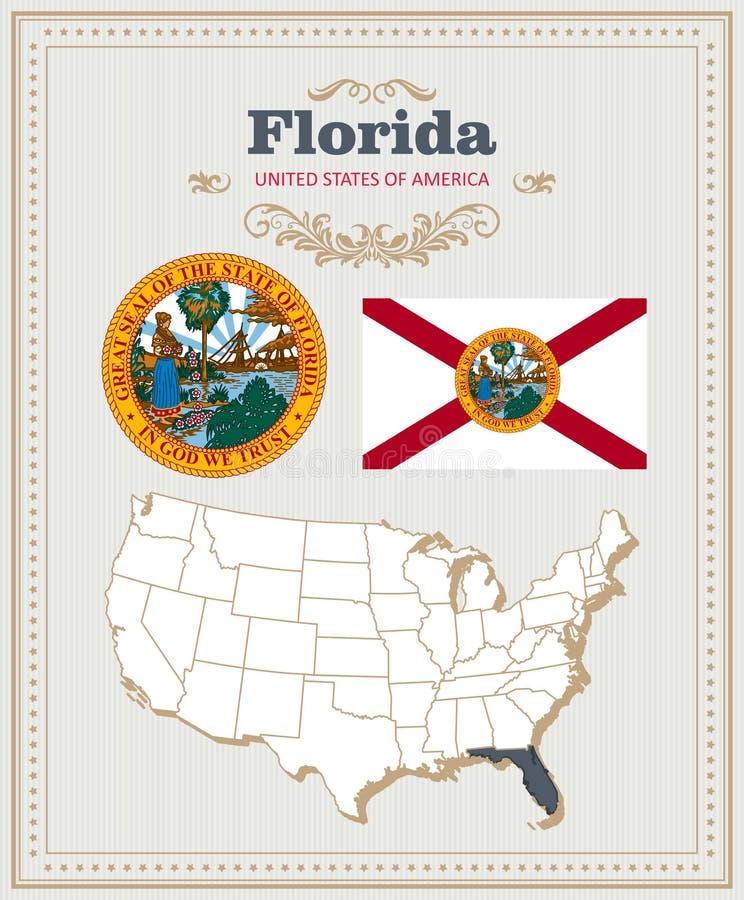 Alto insieme dettagliato di vettore con la bandiera, stemma, mappa di Florida Manifesto americano Cartolina d'auguri illustrazione di stock