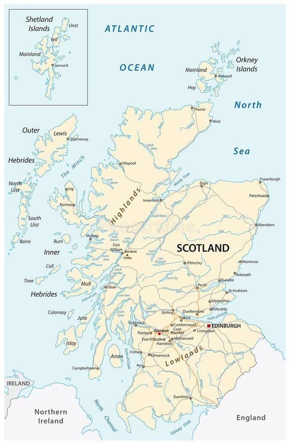 Alto mapa de camino detallado de Escocia con el etiquetado stock de ilustración