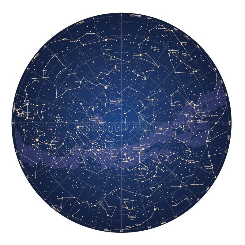 Alto mapa de cielo detallado del hemisferio meridional con nombres de estrellas ilustración del vector