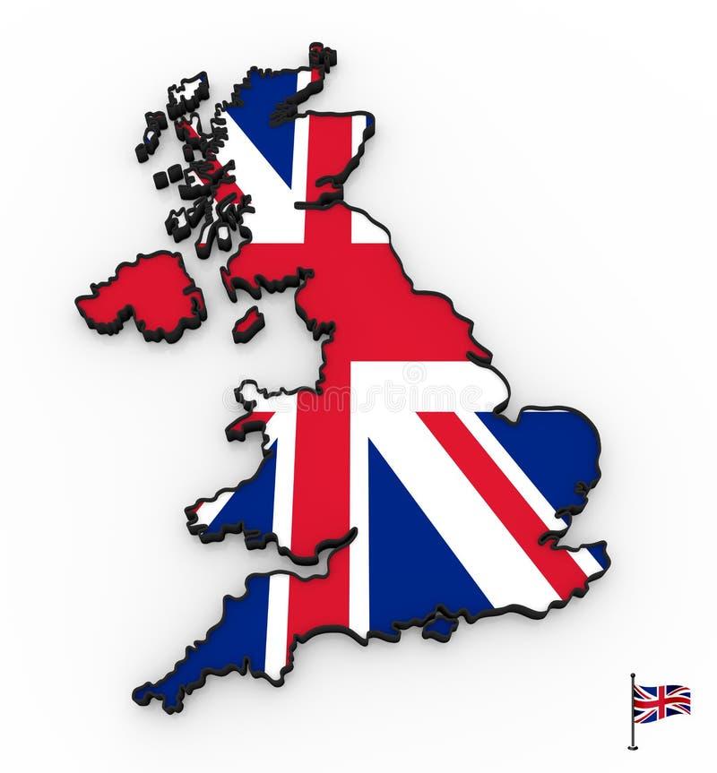 Alto mapa detallado 3D de Reino Unido libre illustration
