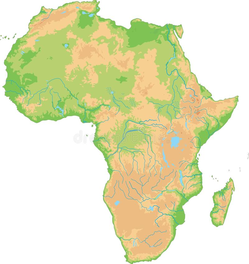 Alto mapa físico detallado de África ilustración del vector