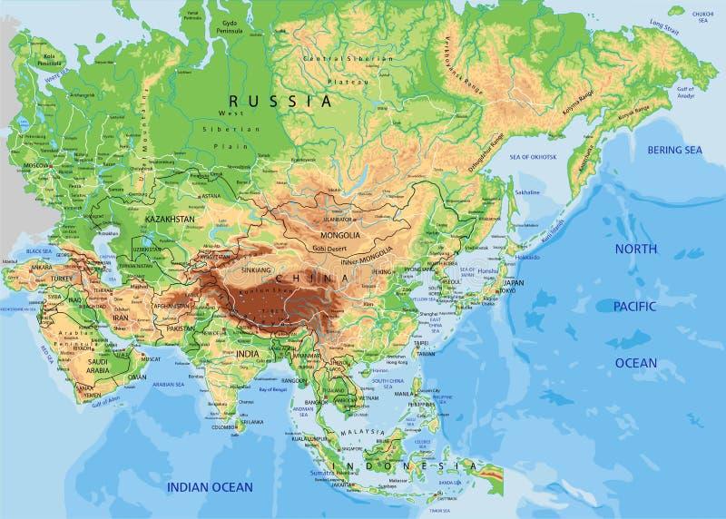 Alto mapa físico detallado de Asia con el etiquetado libre illustration