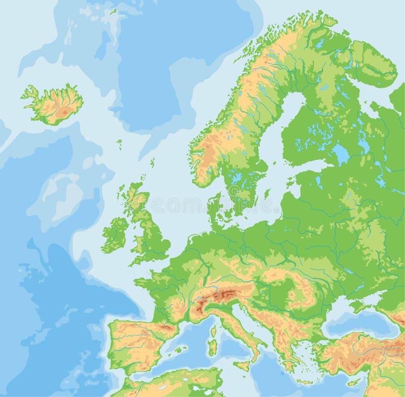 Alto mapa físico detallado de Europa ilustración del vector
