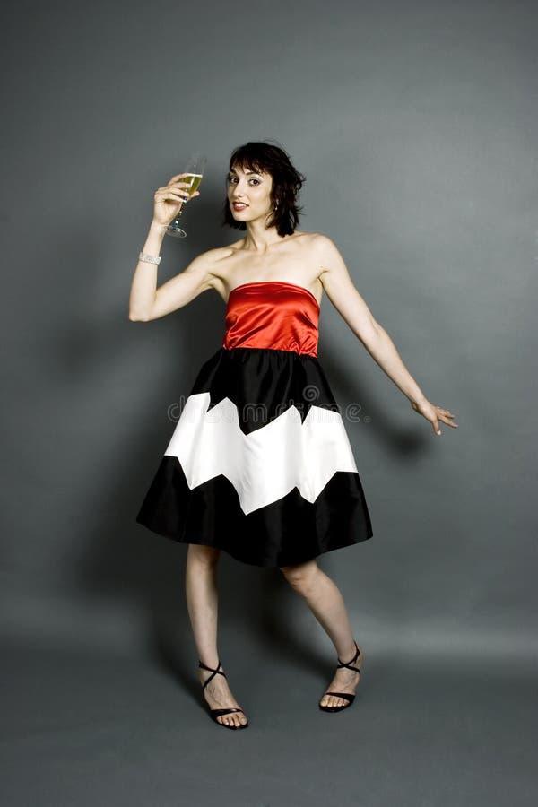 Alto modo e champagne fotografia stock