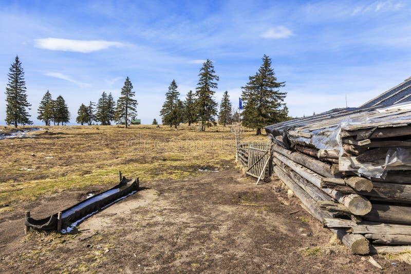 Alto pascolo alpino scenico con i vecchi cottage tradizionali del pastore immagini stock libere da diritti