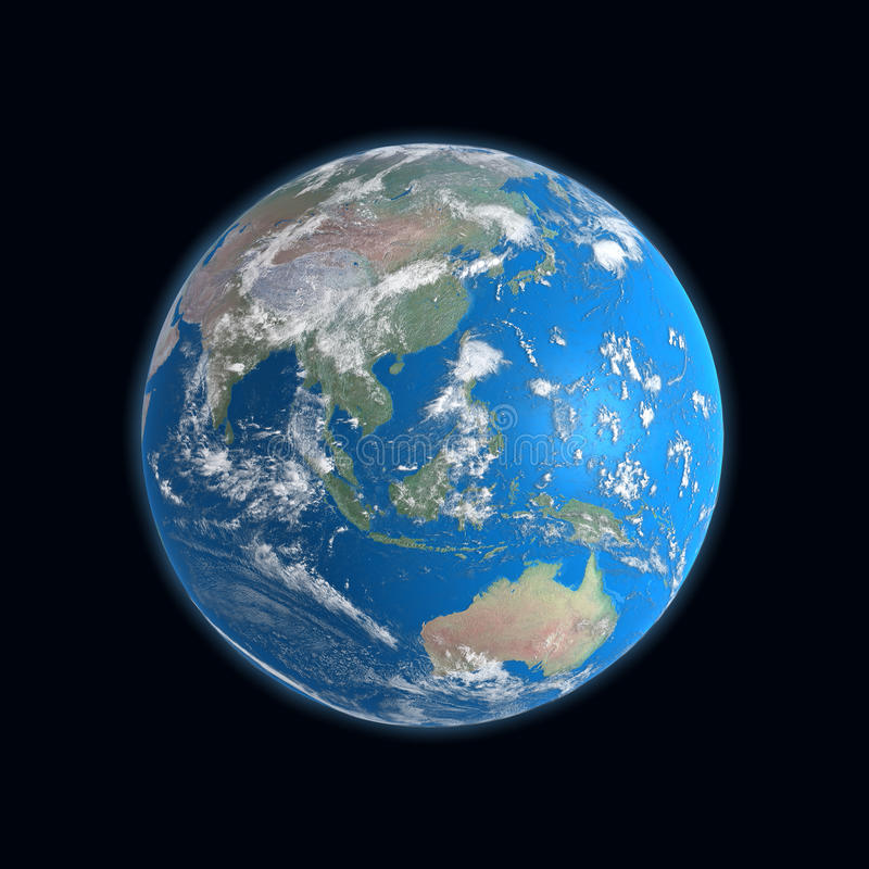 alto programma dettagliato della terra, Cina, Australia, illustrazione di stock