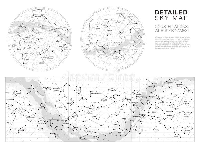 Alto sistema detallado del vector de los mapas de cielo libre illustration