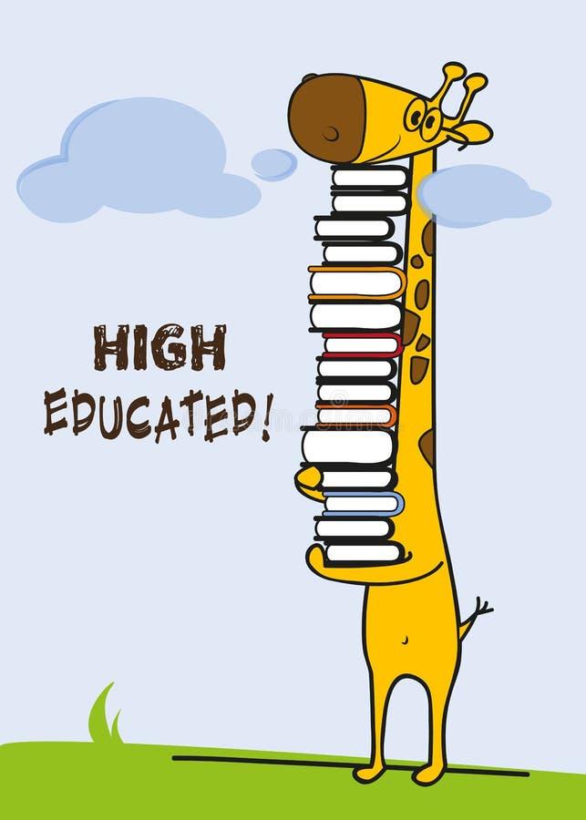 Alto studente istruito della giraffa/Master congratulazione della cartolina d'auguri dello studente sulla graduazione illustrazione vettoriale