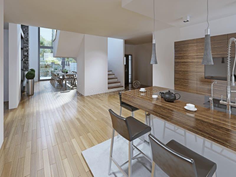 a Alto-tecnologia denominou a cozinha com sala de jantar imagens de stock royalty free