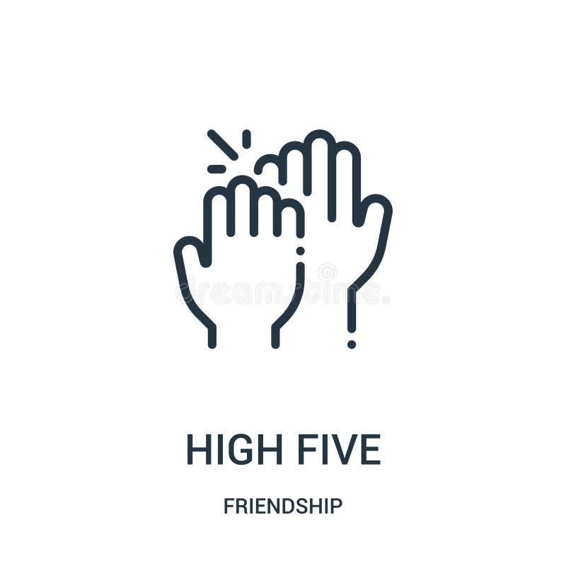 alto vector de cinco iconos de la colección de la amistad Línea fina ejemplo del vector del icono del esquema del alto cinco Símb ilustración del vector
