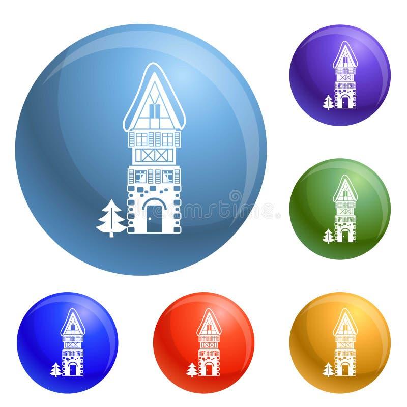 Alto vector del sistema de los iconos de la casa de la piedra ilustración del vector