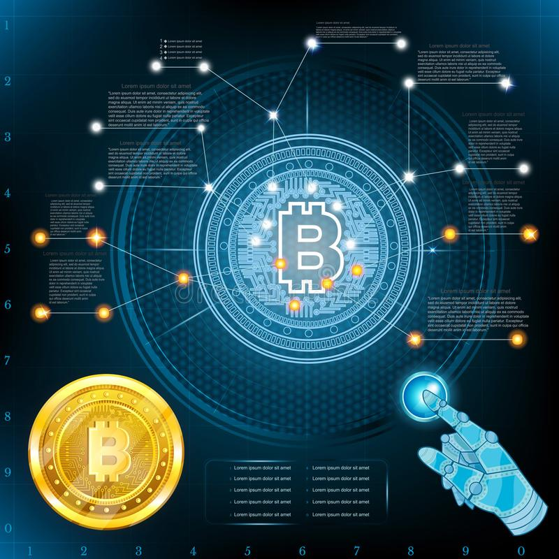 Alto virtual - tela ou gráfico da tecnologia com a moeda mordida dourada Gráfico da informação do negócio ilustração do vetor