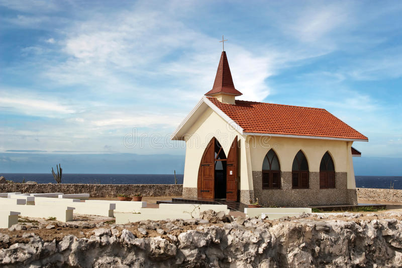 Alto Vista Chapel. Isolated on Aruba's north shore royalty free stock photo