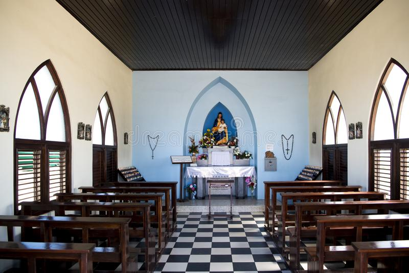 Alto Vista Chapel, Aruba, Caribbean Sea. Alto Vista Chapel in Aruba is a small Catholic church, also known as `Pilgrims Church`. Aruba - island in the Caribbean royalty free stock images