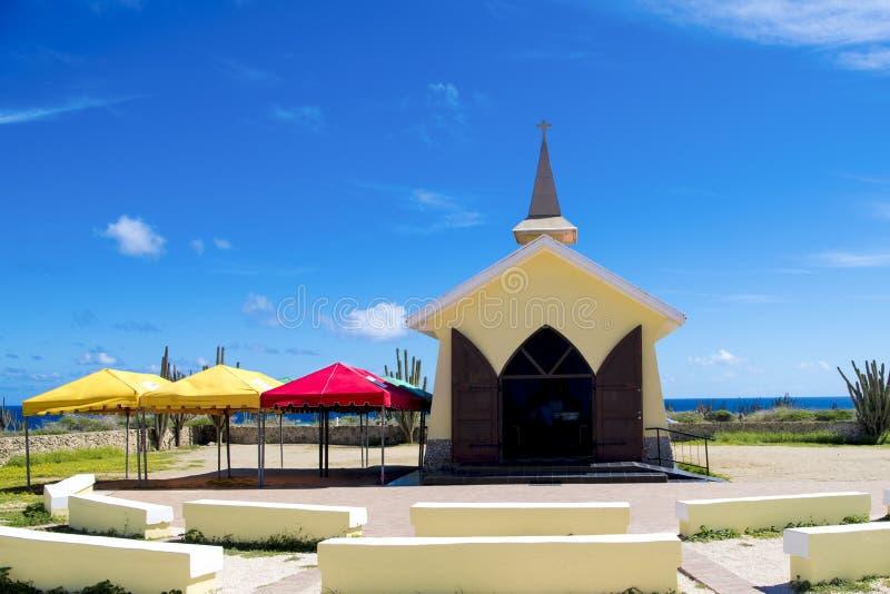Alto Vista Chapel, Aruba, Caribbean Sea. Alto Vista Chapel in Aruba is a small Catholic church, also known as `Pilgrims Church`. Aruba - island in the Caribbean royalty free stock photos