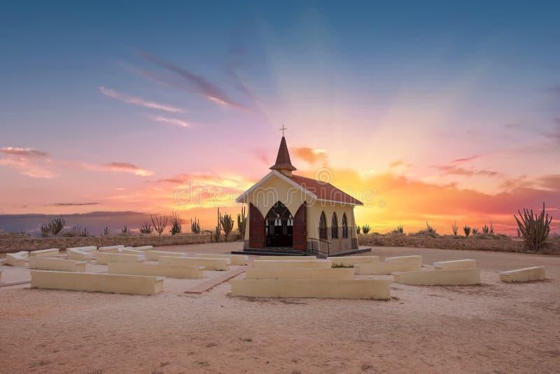 Alto Vista Chapel na ilha de Aruba imagens de stock